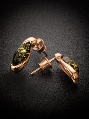 Bông tai trang sức Amber Jewelry bạc 22K đính đá hổ phách màu xanh lá (Lolanta) phủ vàng - 710109355