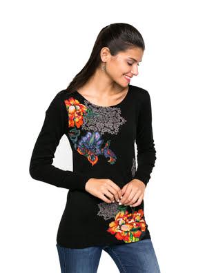 Áo nữ dài tay Desigual size XS NEGRO - 67J21E62000XS