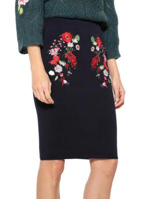 Chân váy xanh navy thêu hoa Desigual SKIRT MARINO - 17WWFF035001