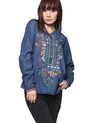 Picture of Áo dài tay nữ BLOUSE, Size S, DENIM MEDIUM LIGHT - 17WWBD035160S