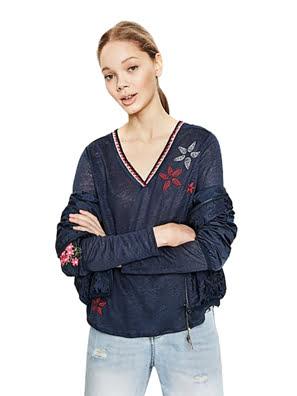Áo dài tay nữ Desigual T-SHIRT size S NAVY - 72T2YF45000S
