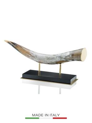 Vật trang trí sừng bò Nam Phi đế gỗ mạ vàng 24K ARCAHORN - 1610C
