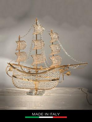 Con thuyền DEBORA Marine mạ vàng gắn kim cương Swarovski L84x P25 x H78 - DC3062-OR