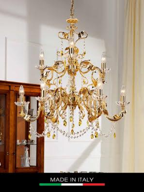 Đèn chùm DEBORA Primula mạ vàng 9 bóng gắn kim cương Swarovski 75 x 77 cm - DC2419