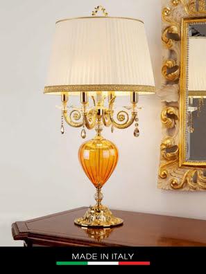 Đèn bàn pha lê màu hổ phách DEBORA Romatica mạ vàng 4 bóng ⌀30cm*86h gắn kim cương Swarovski - DC2437