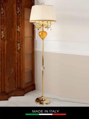 Đèn cây pha lê màu hổ phách DEBORA Romatica mạ vàng 5 bóng cm30x180h gắn kim cương Swarovski - DC2438