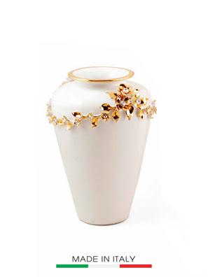 Bình hoa BC màu trắng mạ vàng đính ngọc cao 30cm - 754/BO-STR