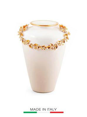 Bình hoa BC màu trắng mạ vàng đính ngọc cao 36cm - 753/BO-STR