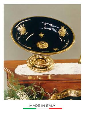 Khay tròn có chân BC màu đen mạ vàng - 9438/BLEU-D
