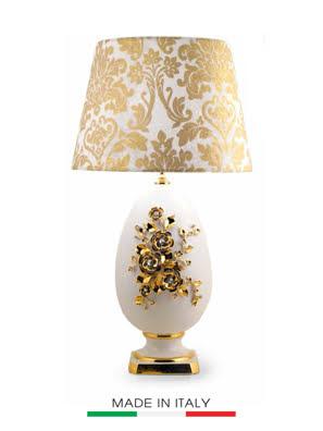 Đèn hình quả trứng trang trí bướm mạ vàng 24K nạm ngọc BC - ST809.BO-FARF-L