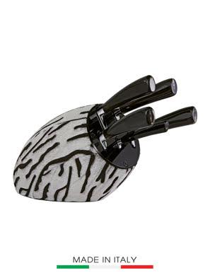 Bộ dao BERKEL KNIVES Adhoc 5 cái cán nhựa thông màu đen, đế dao bọc da ngựa nâu SENSECAVN528