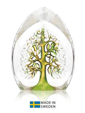 Vật trang trí hình cây của sự sống lớn bằng pha lê vàng xanh Maleras
