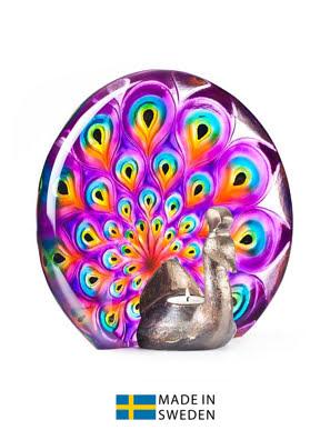 Vật trang trí hình con công bằng pha lê màu tím Maleras