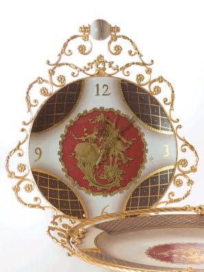 Picture of Đồng hồ cổ mạ vàng hoạ tiết vẽ tay Caroline del Monte - A76.1035/1