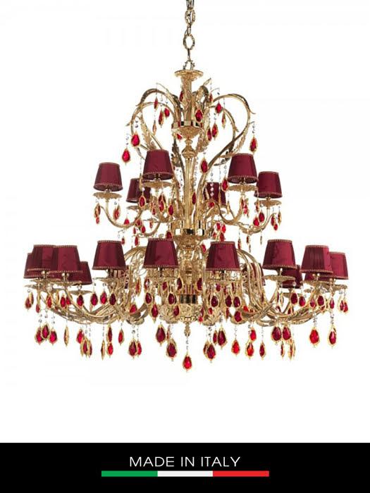 Đèn trần Debora Roma 24 bóng mạ vàng gắn hạt pha lê Swarovski đỏ ruby chụp đèn màu hồng - DC4432/OR