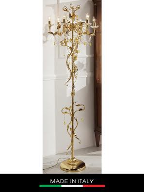 Đèn cây DEBORA Primula 6 bóng bằng đồng mạ vàng trang trí lá bằng pha lê - DC2420