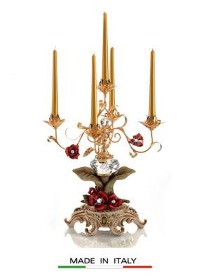 Đèn cầy mạ vàng Cevik gắn kim cương swarovski