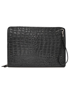 Picture of Bóp bao da Rostaing Embossed Crocodile Black màu đen - S-00148
