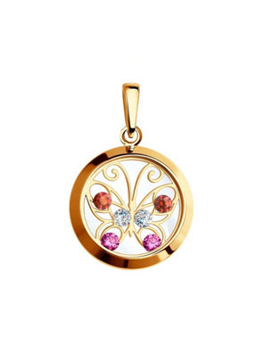 Mặt dây chuyền bằng  vàng đính đá nhân tạo -  035061
