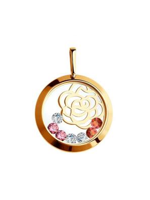 Mặt dây chuyền bằng  vàng đính đá mầu, đá trong suốt, đá đỏ -  035076
