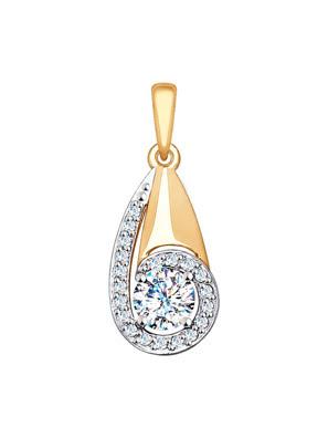 Mặt dây chuyền bằng vàng đính đá mầu -  035249