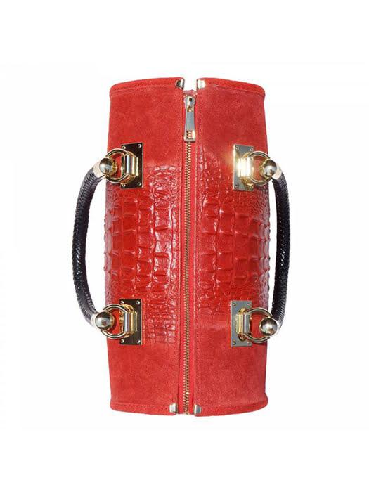 Túi xách da Ý Florence màu đỏ - 30x15x22 cm - 7002-Red