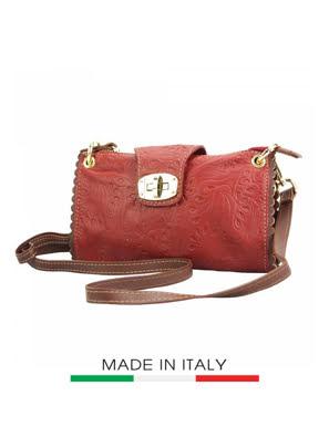 Túi xách da Ý Florence 22X4X13CM - 8611S-RED-N