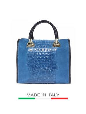 Túi xách da Ý Florence - 30x12x29 cm màu xanh nhạt - 7004-Blue