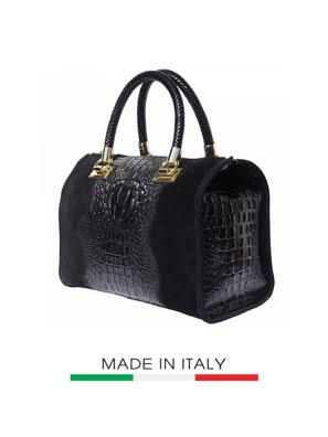 Túi xách da Ý Florence 29x2x21cm màu đen - 7002-Black