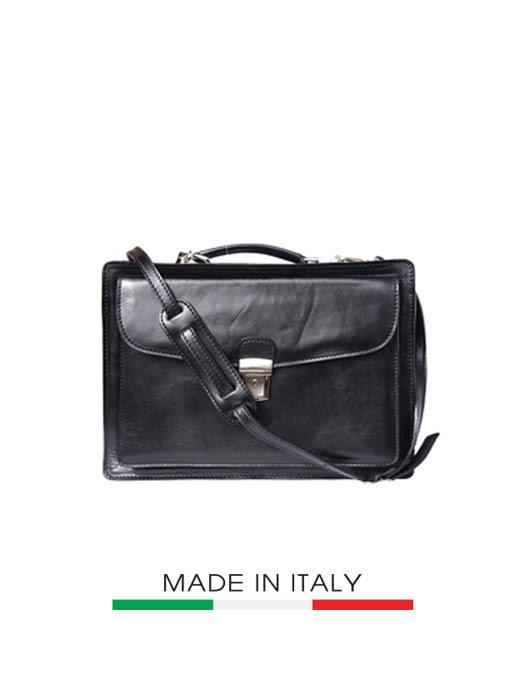 Túi xách da Ý Florence 40x13x29cm - 7621-BLACK