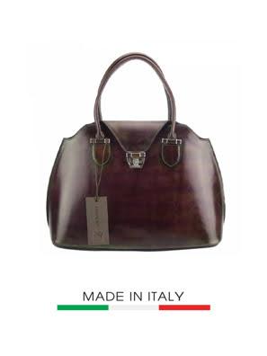 Túi xách da Ý Florence 20X2X13CM - STOCK-3-BROWN