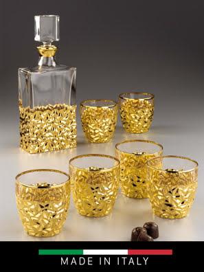 Bộ 6 ly và bình rượu Whisky pha lê Same Decorazione Italy - 73735