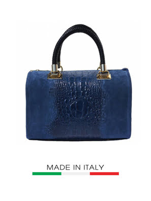 Túi xách da Ý Florence 29x2x21cm màu xanh đậm - 7002-Blue