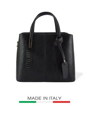 Túi xách da Ý Florence 33X14X25CM - 7005-BLACK