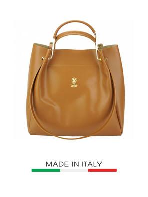 Túi xách da Ý Florence 33,5x13x5x29CM - 8051-Tan