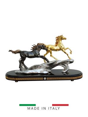 Picture of Tượng 2 ngựa 64cmx24cm cao 39cm mạ vàng 24K và bạc Goldline Italia - D4564OG.BL-A