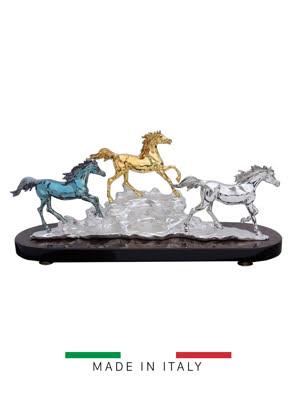 Tượng 3 ngựa mạ vàng 24K Goldline  Italia 82x27cm cao 39cm - D4570BGS.BLBR-B