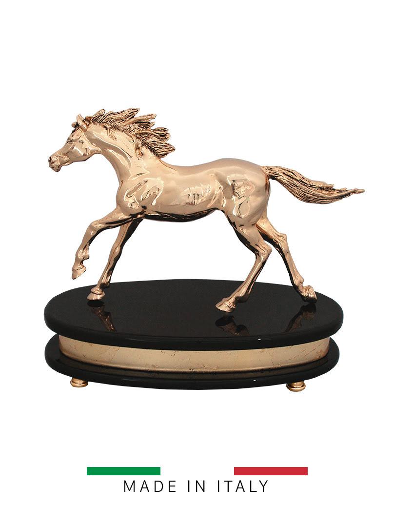 Tượng ngựa running Goldline Italia cao 23,5cm mạ vàng 24K và bạc - D2685G.BGB