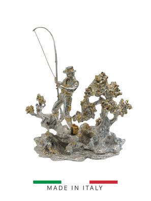 Tượng người câu cá mạ bạc và vàng Goldline Italia - D2934