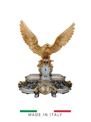 Vật trang trí hình đồng hồ tự do với cánh chim ưng bằng bột đá Goldline Italia - 16603G-MS