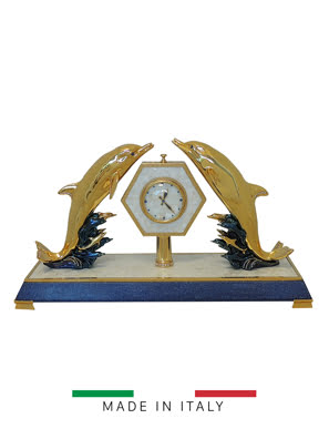 Vật trang trí hình đồng hồ với 2 mẹ con cá heo bằng bột đá Goldline Italia - 16701G/MP-BM