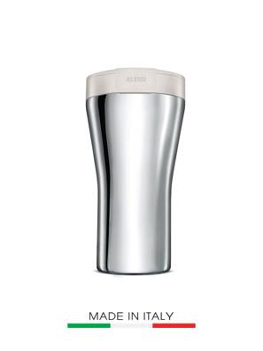 [MỚI] Cốc giữ nhiệt bằng Inox Alessi nắp màu trắng - GIA24 BW