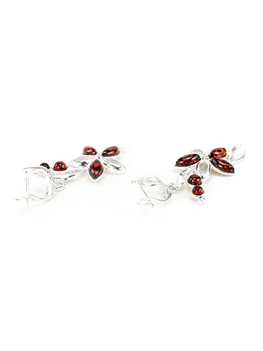 Bông tai trang sức bằng bạc 22k, có đính hổ phách thiên nhiên - 5065211148