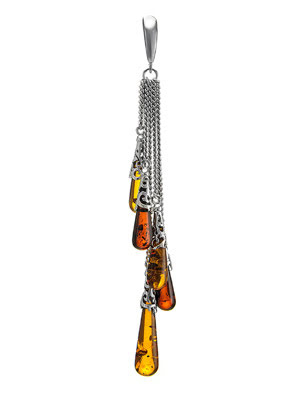 Mặt dây chuyền trang sức bằng bạc 22k, có đính hổ phách thiên nhiên - 701708024