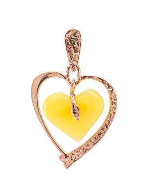 Mặt dây chuyền bàng vàng với hổ phách màu mặt ong hình trái tim - 607210058