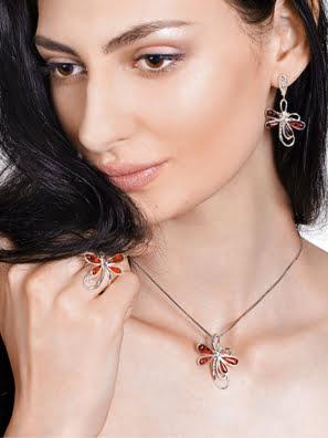 Picture of Mặt dây chuyền trang trí công phu với hổ phách Baltic tự nhiên của hoa anh đào