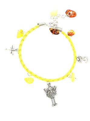 Vòng đeo tay màu vàng với màu hổ phách tự nhiên