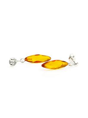 Hoa tai từ hổ phách Baltic tự nhiên có màu vàng cognac