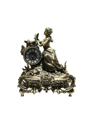 Tượng cô gái cưỡi xe song mã gắn đồng hồ bằng đồng Viruts - 5191