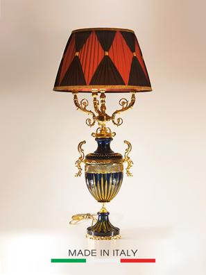 Khay cổ mạ vàng và pha lê màu tím Olympus Brass - Hand-made in Italy
